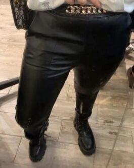 Pantalon similicuir noir