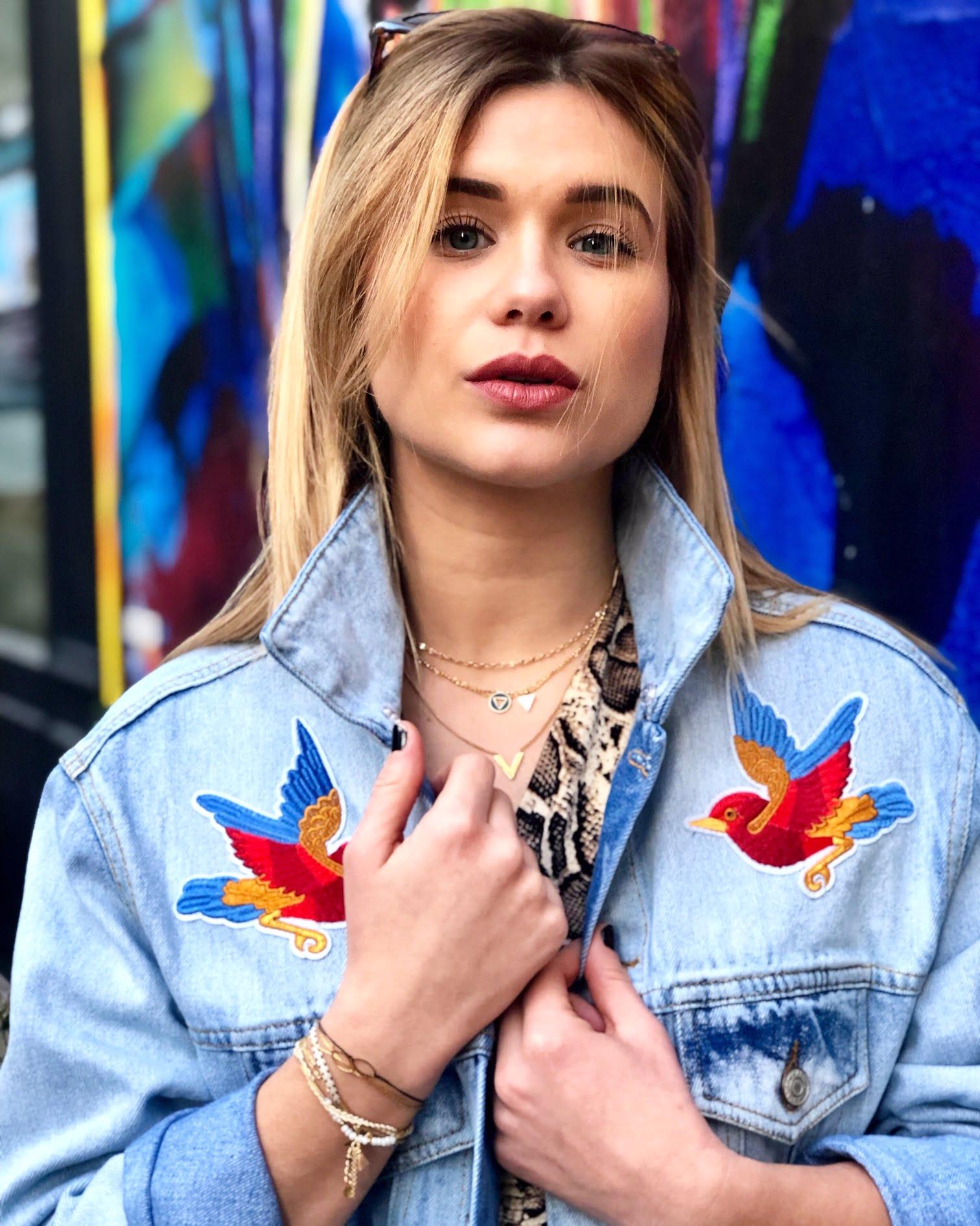 Veste en jeans Bird en coton pour un effets épais