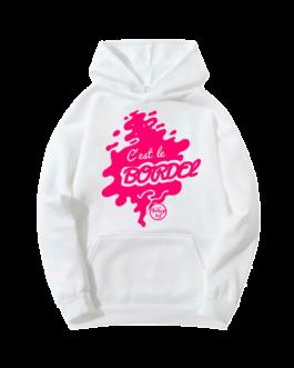 """Sweat-shirt à capuche """"c'est le bordel"""" rose"""
