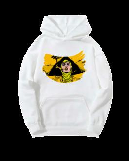 Sweat-shirt à capuche blanc Barbara peinte jaune