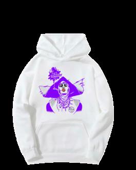 Sweat-shirt à capuche Barbara blanc et violet