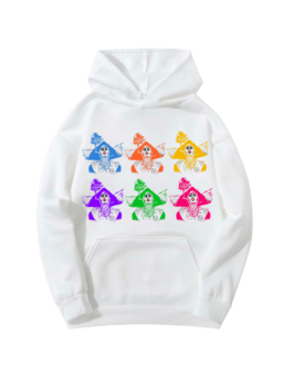 Sweat-shirt à capuche blanc Barbaras Colorées