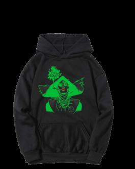 Sweat-shirt à capuche Barbara noir et vert