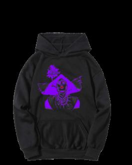 Sweat-shirt à capuche Barbara noir et violet