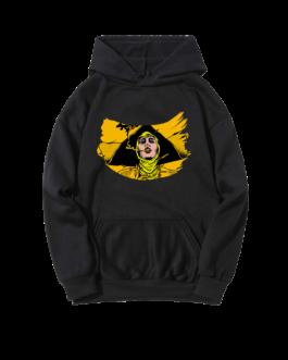 Sweat-shirt à capuche noir Barbara peinte jaune
