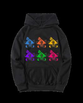 Sweat-shirt à capuche noir Barbaras Colorées